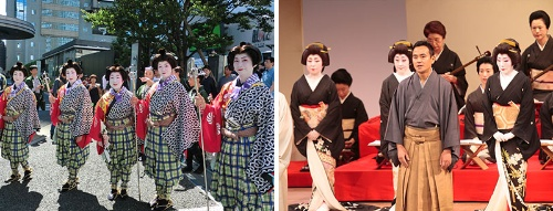 (左)赤坂サカス開業に合わせ、赤坂氷川神社では100年ぶりに山車が巡行。祭礼で赤坂芸者の手古舞姿。(右)2006年に復活した「赤坂をどり」。舞台挨拶をする「赤坂浅田」浅田松太氏