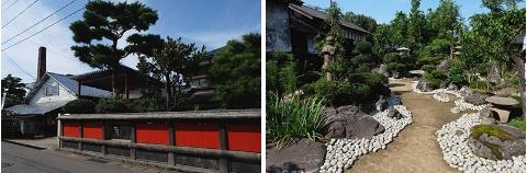 (左)1823年(文政6年)創業、200年近い歴史を持つ、老舗「ハナブサ醤油」の美麗な外観。(右)蔵見学では中庭も見学できる。奥にはご利益のある「コンコン様(お稲荷様)」も