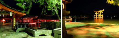 (写真左)ライトアップは23時まで。しかし点灯後1時間もすると人の姿はまばら。(右)「宮島グランドホテル有もと」では宿泊者向けに毎日20時30分より無料のナイトツアーを行っている。景色をさえぎる人垣もなく、夜景撮影にも絶好の時間