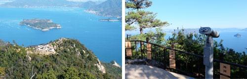 (写真左)山頂から見た「獅子岩展望台」と瀬戸内海、手前に大奈佐美島、奥に江田島。(右)展望台には島の案内板と専用の覗き穴が設置。大黒神島や能美島、遠くは四国連山まで見渡せる
