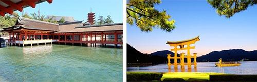 (写真左)早朝、嚴島神社にほとんど人影はない。美麗な社殿と五重塔のツーショット。(右)日没30分後から夜11時まで、大鳥居や嚴島神社、五重塔などがライトアップされる