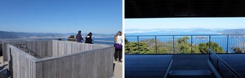 (写真左)弥山展望台3階の遮るものがない360°の視界。(右)2階は天井がスクリーンのようになって日差しを遮り、明るい外の景色、瀬戸内海に浮かぶ島々が借景のよう