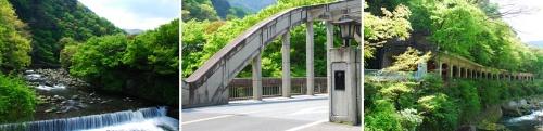 """瓔珞からは、(左)塔ノ沢温泉を流れる早川の流れや(中)(右)<a href="""" http://www.pref.kanagawa.jp/prs/p907721.html""""  target=""""_blank"""">国の重要文化財</a>に指定された千歳橋と「<a href="""" http://www.pref.kanagawa.jp/prs/p845344.html""""  target=""""_blank"""">国道一号函嶺洞門</a>」の姿を眺めることもできる。 画像提供:箱根町役場"""