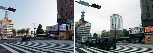 (左)2009年10月、JR大分駅前(北側)、(右)2015年8月、同じ場所で撮影したもの。