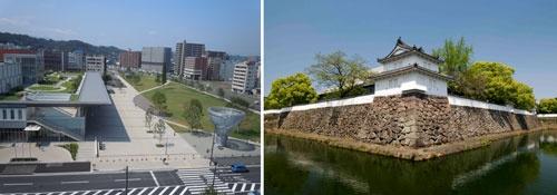 (左)大分駅南土地区画整理事業、駅南の新都心拠点の複合文化施設「ホルトホール大分」、駅前広場、幅員100mのシンボルロード整備等 (右)今後、近世の歴史文化観光拠点と位置付ける「大分城址公園・府内城跡」だが、現状内部の主用途は駐車場となっている。<br />画像提供:公益社団法人ツーリズムおおいた