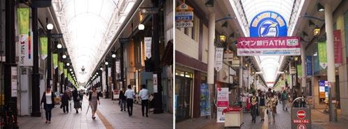 2015年6月平日昼間に歩く人が増えていた。市調査で通行量が増えた(左)古いビルや倉庫をリノベしたカフェなどが増えてきた「ガレリア竹町」、(右)週末ライブやファッションショーなど、活性化イベントも多数開催してきた「セントポルタ中央町」