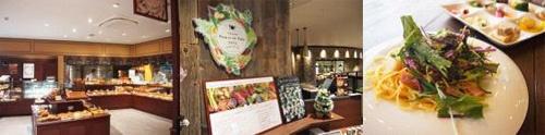 写真左:商業棟内にある「らぽっぽファームベーカリー」、中・右:ヴィレッジ内の農園や地元農家直送の新鮮野菜をふんだんに使ったビュッフェなどが人気のレストラン「ファームトゥーザテーブルなめがた」とそのランチセット