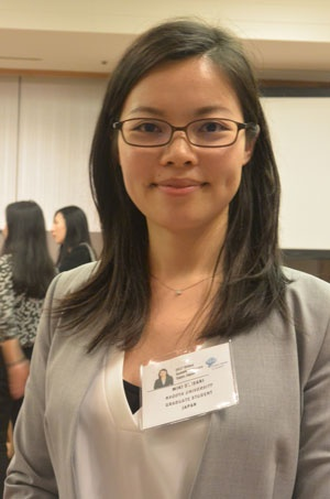 名古屋大学博士課程で研究を続ける鬼谷美紀さん(26)。フィリピンから来日した社会起業家に英語で深く鋭い質問を投げかけた