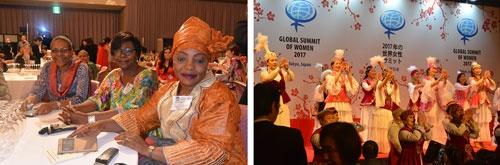 カメルーンからの参加者(左)<br />カザフスタンからは女性ビジネス協会のメンバーが来日。同国での万博開催をアピールするため民族衣装で舞踊を披露した(右)