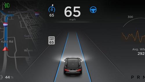 テスラ「モデルS」のメーターパネル。中央下に自分の車両が表示されており、その前方に車線が表示されたら、自動運転が可能になる。自動運転中は、上部の速度表示の右のステアリングのイラストと、左側の設定速度の表示が青色に変わる(写真は米国仕様のもの、写真提供:テスラモータ―ズ)