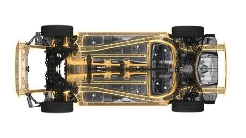 富士重工業の次世代プラットフォームの骨格構造。フロントからの荷重を車体後方に伝える骨格を斜めに配置しているのがSKYACTIVと共通する