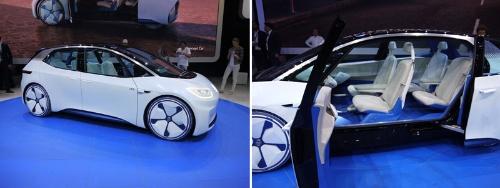 独フォルクスワーゲンが展示したEVのコンセプトカー「I.D.」。同社が2020年に商品化を予定する新型EVをイメージしたモデル