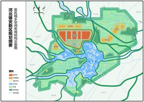 雄安新区の計画図。市街地の建設が予定されているのは白洋淀という湖の北だけで、あとの地域は緑や湖を保存することが予定されている(資料:中国政府)