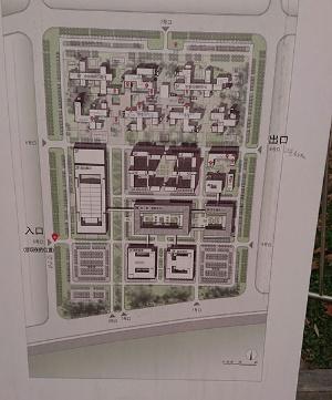 市民サービスセンターの配置図。今回見学した計画展示館は向かって左側の建物