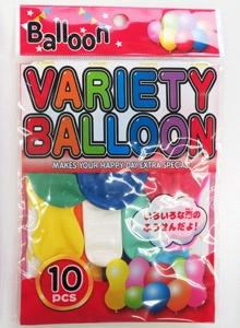 カラフルな3種類の形のアソートセット「バラエティバルーン」は、コンビニや玩具店の人気アイテムだ。