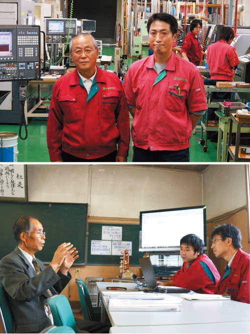 廃校からMRJの部品を生み出す<br/>●佐渡精密の工場と社屋