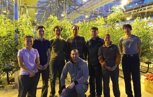 ホッコウの技術を導入した温室がシベリアで稼働。日本人と似ているが、写っている8人中5人がロシア人