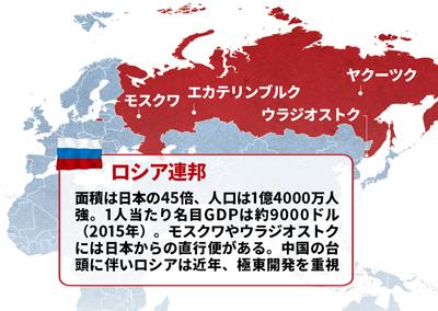 """<span class=""""nbdf386"""">「近くて遠い国」のイメージも根強い<br />●ロシアの主要都市</span>"""