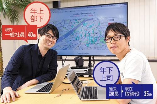アキッパの横田学氏(左)は好んで年上部下になった。広田康博取締役(右)とともに事業を軌道に乗せるべくこれまで培ってきたノウハウを活用する(写真=菅野 勝男)