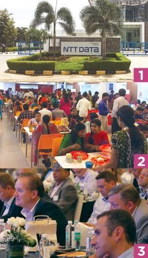 1.業務アウトソーシングを手掛けるインドの拠点<br />2.社員食堂では、色とりどりのサリーを着た女性が話に花を咲かせる<br />3.欧州の幹部など約150人が集結した