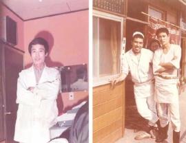 <b>1968年に初めてラーメン屋を任された(右の写真右)。独立後の74年に大宮の店で(左)</b>