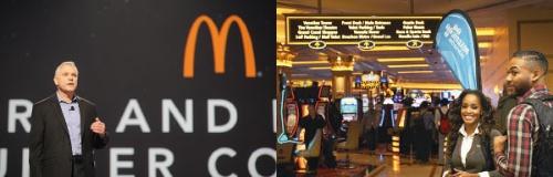 <b>左:米マクドナルドなどがAWSの導入事例を公開<br />右:巨大カジノを抱えるホテルがイベントの舞台</b>(写真=鍋島 明子)