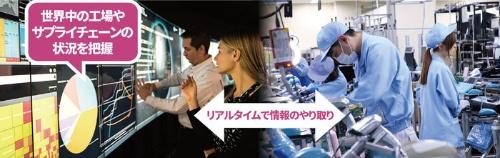 <b>世界100カ所の工場と1万4000社以上のサプライチェーン情報を一元管理(左)。需要に合わせて生産量や品目を柔軟に変更する。右の写真は日本の工場</b>(写真=右:陶山 勉)