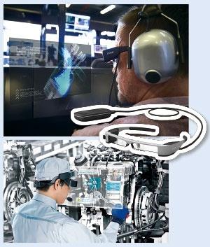 F1チームの見学など利用の裾野が広がっている<br/>●スマートグラス「モベリオ」の利用例