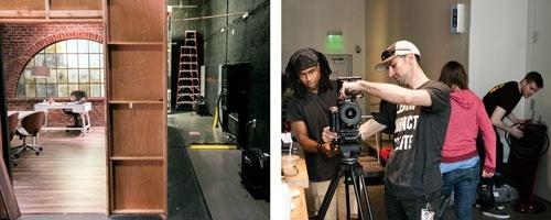 ▶LAのスペース内には7以上の撮影スタジオがある(左)<br/>▶スタジオではプロのカメラマンが撮影の仕方を教える(右)