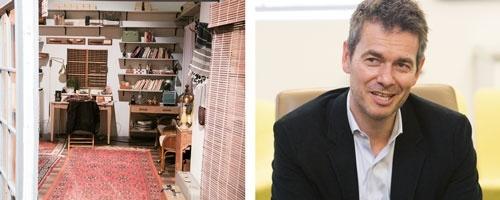 ▶スタジオ内のセットは小道具もしっかり作りこまれている(左)<br/>▶有料サービスの責任者、ロバート・キンセル副社長(右)