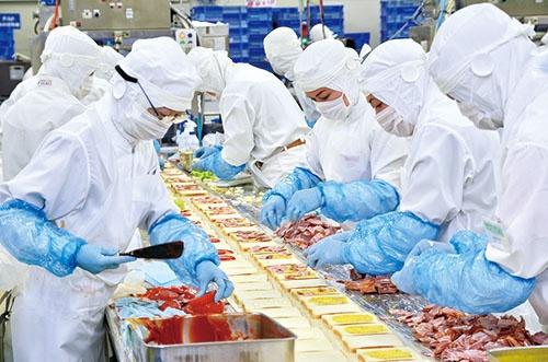 サンドイッチを作るファーストフーズ武蔵工場(埼玉県入間市)。具材を挟むのは一つずつ手作業(写真=藤村 広平)