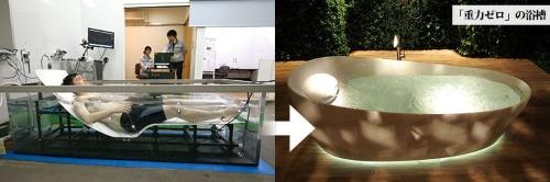 (左)<b>研究者自ら多数のセンサーを身体に取り付け、快適に入浴できる浴槽を開発する</b>(写真=陶山 勉)<br />(右)<b>ドイツの見本市では早期の発売を望む声</b>