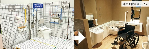 (左)<b>多機能トイレの手すりや洗浄ボタンなどの最適配置を研究する</b>(写真=陶山 勉)<br />(右)<b>車イスの動線確保などでも工夫された内部配置となっている</b>