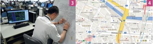 3.調査員による修正箇所をデータとして打ち込む。北九州の本社が担当 4.米グーグルの「グーグルマップ」ではゼンリンの地図が使われている(画面下に「ZENRIN」の文字)。他にも、米ヤフーや米マイクロソフトにも地図を提供している