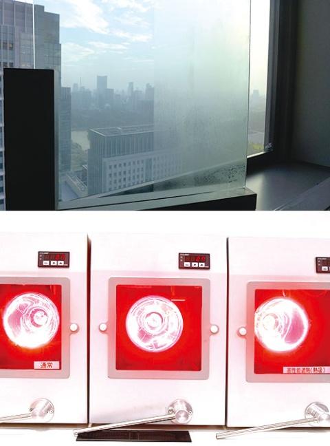 新型の防曇ガラス(上)や遮熱ガラス(下)も自動車メーカーからの引き合いが強い(写真=早川 俊昭)