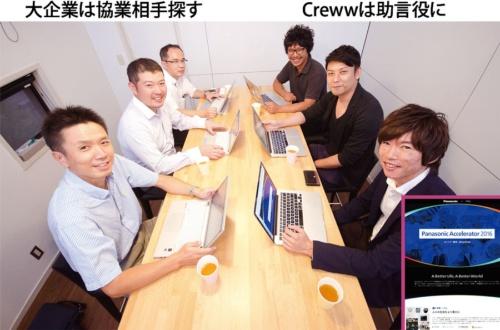 大企業(左側3人はパナソニックの担当者)が、新規事業で協業できるスタートアップを探すために助言を求める<br />募集サイトのデザイン(写真右下)などについて、起業家目線で大企業にアドバイス(右側3人がCrewwメンバー。手前は伊地知代表)(写真=藤村 広平)