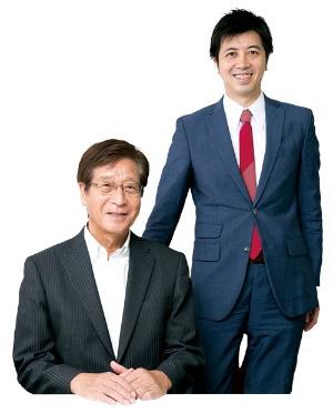 <b>藤田会長(左)と高島社 長は26歳差。親子のように協力しあう考えだ</b>(写真=的野 弘路)