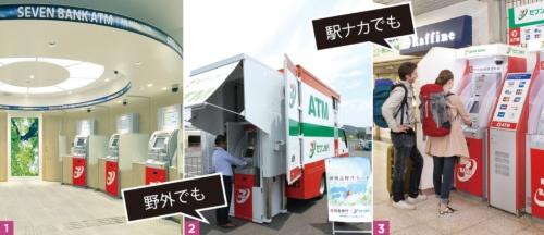 1.新宿・歌舞伎町にあるセブン銀のATMコーナー<br/>2.5月の伊勢志摩サミット会場では、移動車両を使ったATMを展開<br/>3.セブン銀ATMは海外カードに幅広く対応しており、訪日外国人の利用が増加している