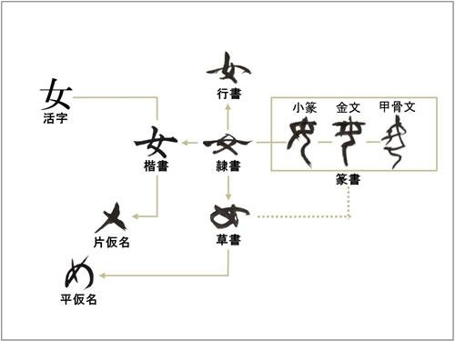 「書体変遷図」文字は、長い歳月をかけて形作られた、文化遺産<br />(教育出版 平成二十年版『新編書道Ⅱ』を参考に木下が作成)