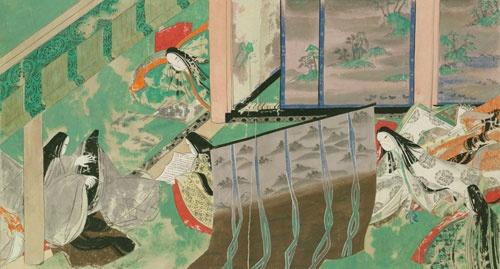 宮廷での御簾(みす)に囲まれた女性たちの暮らしぶり<br />源氏物語絵巻/隆能源氏 絵(国立国会図書館)