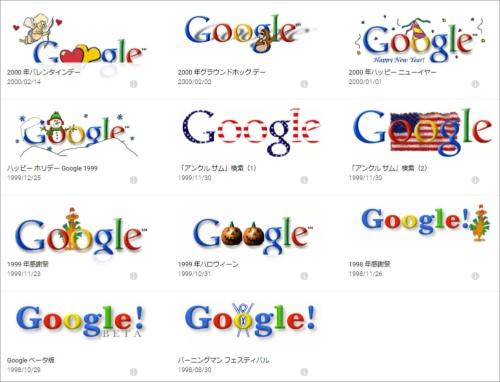 """ベータ版時代からのグーグルのロゴマークがアーカイブされているページ「<a href=""""https://www.google.com/doodles/"""" target=""""_blank"""">Doodle(ドゥードゥル)</a>」。"""