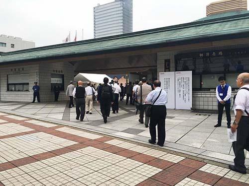 6月22日、東京都墨田区の両国国技館で開かれた東芝の株主総会