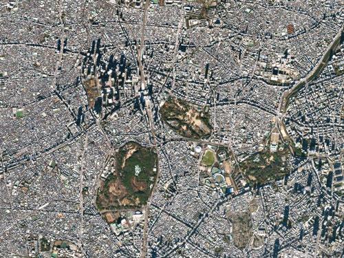 東京の上空から写した画像データ