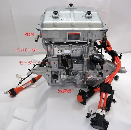 図5 パワートレーンの構成。上からPDM、インバーター、モーター