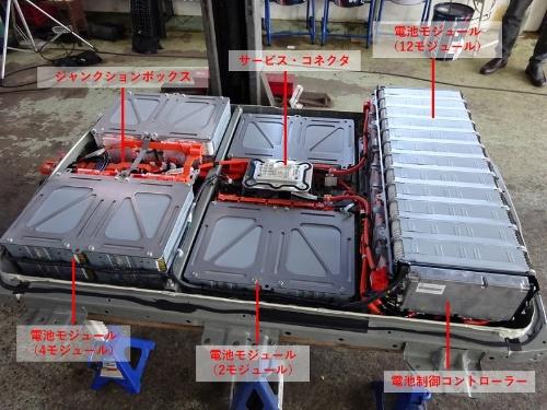 図2 電池パックの内部。24個の電池モジュールと遮断機、ジャンクションボックス、電池制御コントローラーで構成されている