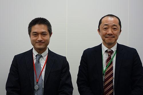 東急パワーサプライ経営管理グループ長の原寛一執行役員(左)と営業グループ長の河内綱司執行役員