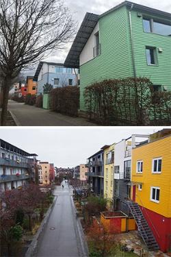 色とりどりの瀟洒な住宅が並ぶドイツ南西部・フライブルク郊外の街。ドイツでは家を「資産」として評価する制度が整っている