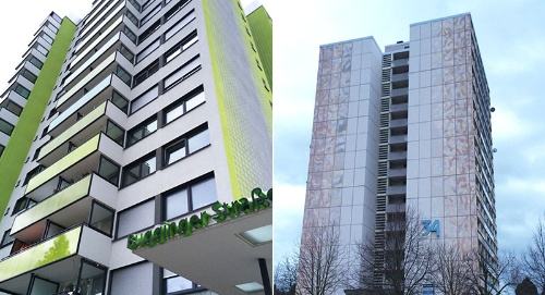 大規模リノベーション後の公営住宅(写真左)と、まだリノベーションが行われていない公営住宅(写真右)