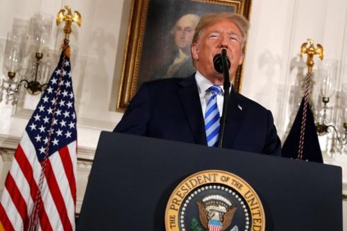 米トランプ大統領はイラン核合意から離脱を表明(写真:ロイター/アフロ)