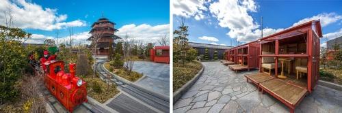 JRおおいたシティの屋上庭園。約1000本の木が植えられた4500平方メートルの敷地には、子どもが乗れるミニトレインがある(左)。また、貸し農園もあり、その横には、家族などで団らんできるようなテーブルとベンチがある(右)。(写真:山本巌)